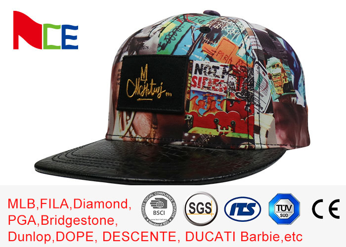 ACE Graffiti Pattern Applique Flat Brim Snapback Hats For Women 5 Panels